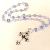 Anglican Prayer Beads in Blue Lace Agate
