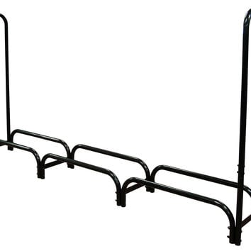 12ft Feet Outdoor Heavy Duty Steel Firewood Log Rack Wood Storage Holder Black