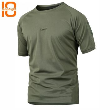 TENNEIGHT Men Tactical T Shirt Short Sleeve Quick Dry men's sports T-Shirts Dropshipping Breathable Camouflage Hunting Tee Shirt