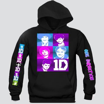 "1D Big Faces ""3Prints"" Unisex Hooded Sweatshirt Funny and Music"