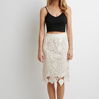 Embroidered Crochet Pencil Skirt