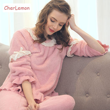 Winter Warm Flannel Women Pajamas