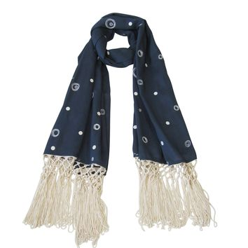 Lace and Sequin; Embroidered Long Beach Scarves : Navy