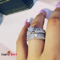 925 Sterling Silver Luxury Bold Big Wedding Rings Set for Bridal Women Engagement Ring