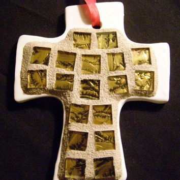Cross Christmas Ornament with Gold Stained Glass