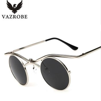 Vazrobe Flip Up Steampunk Sunglasses Men Women Small Round 44mm Gothic Steam Punk Goggles Sun Glasses for Male Vintage Hip Hop