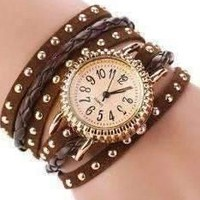Bohemian Leather Wrap Bracelet Watch in Chocolate