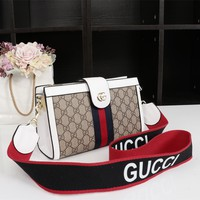 Gucci GG Leather Tote Handbags for Women Multicolor Striped Shoulder Purses with Bee Buckle