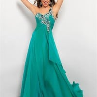 One Shoulder Beaded Pleated Crisscross Back Chiffon Prom Dress PD2144