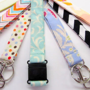Safety Breakaway Fabric Lanyards Pick From over 70 Patterns Chevrons, Florals, Geometrics, Dots Zebra