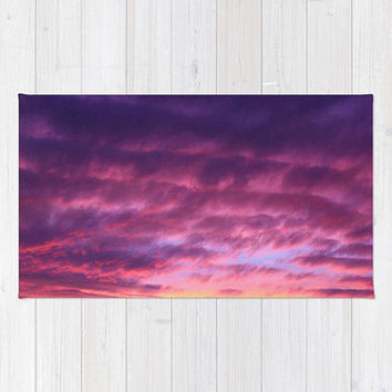 Purple Sunset Rug, Purple Accent Rug, Purple Nursery Rug, Pink Area Rug, Purple Bedroom Rug, Purple Bedroom Decor, Purple Sunset Area Rug