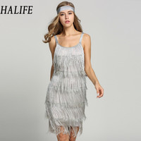 HALIFE Women Straps Club Bandage Sexy Suspender Dress Tassels Glam Sleeveless Gatsby Fringe Flapper Vintage Summer dress 215