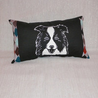 Argyle and Pup Mini Lumbar Pillow Screenprint Border Collie