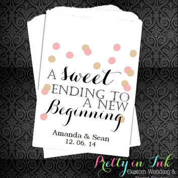 10% OFF - WB131 – A Sweet Ending to a New Beginning, Wedding Candy Bags, Personalized Favors, Weddings, Candy Bar, Popcorn Bags, Treat Bags