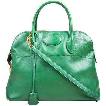 "Vintage Hermes Kelly Green Leather ""Bolide 35cm"" Structured Satchel Handbag"