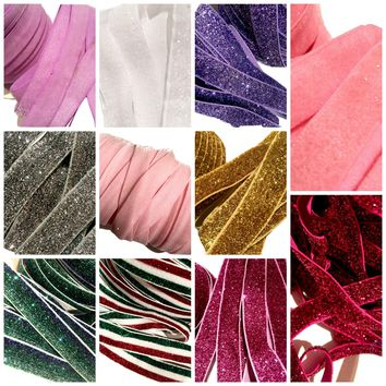 GRAB BAG frosted GLITTER elastic FOE / 5-25 yards