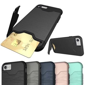 Luxury Stand Case Card Slot Holder Phone Coque for Apple iPhone 7 7Plus 6 6s Plus Back Cover Brushed Armor Shockproof Hard Case