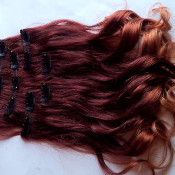 Ombre Red Auburn to Gold Blonde Clip Fade Clip in Human Hair Extensions Full Set Double Layered 18 Inches Long