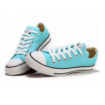 Converse Girl Boy Fashion Canvas Flats Sneakers Sport Shoes Low tops Light blue