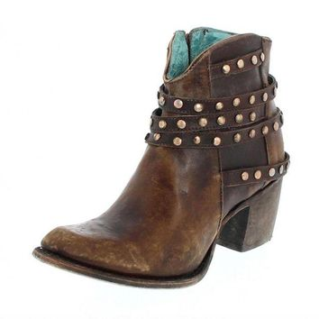 LMFYW3 Corral Brown Studded Strapped Ankle Boots C2993