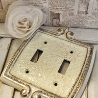 Vintage Amerock Double Light Switch Cover, Ivory and copper, Ornate Shabby Chic with Gold Accented Border, Cottage Chic, Lighting, Decor