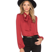 Tie Collar Long Sleeve Blouse