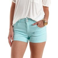 "Refuge ""Hi-Rise Roll Up"" High-Waisted Denim Shorts"