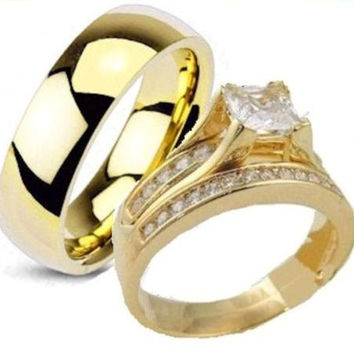 His & Hers 3 Piece Engagement Wedding Ring Set Yellow Gold Overlay