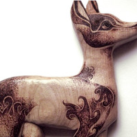 Deer Wall Hanging with Pyrography (Wood burning) Fawn Carving in Beech, Doe wood carving, roe, Wall art, wood carving, deer ornament, uk