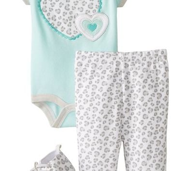 BON BEBE Baby-Girls Newborn Hearts and Animal Print 4 Piece Pant Set, Multi, 0-3 Months