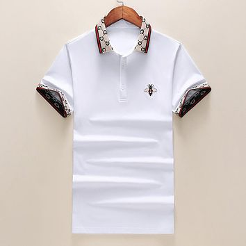 GUCCI Popular Men Women Leisure Bee T-Shirt Top Blouse White