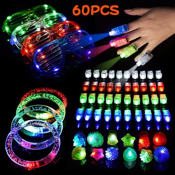 60 Pieces LED Light Up Toys Christmas Flashing Party Favors Supplies Beam Finger Light, Glow-in-the-dark Glasses, Bumpy Rings, Children's Theme Disco Dancing Set for Birthday, Festival, Carnival 60 pcs