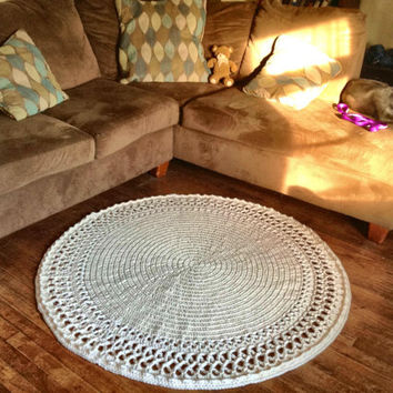 "Large, Thick and Soft Crochet 51"" Round Swirl Doily Area Rug Wool Handmade Many Color Choices (shown in Off White)  Mat Housewares Decor"