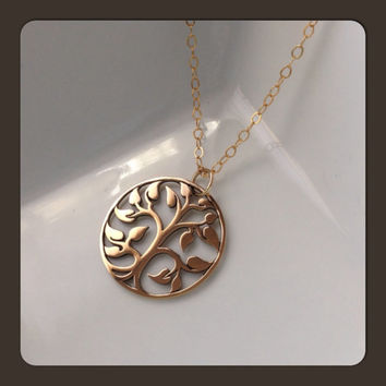 Large Tree of Life Necklace - Family Tree Jewelry - Bronze Tree Gold Filled Chain - Zen Gift - Symbol of Immortality in the Garden of Eden