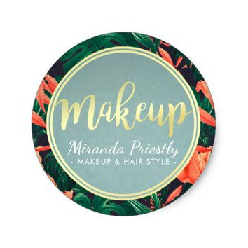 Gold Script & Tropical Floral Makeup Beauty Salon Classic Round Sticker