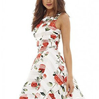 Cream Floral Print Back Hole Skater Dress