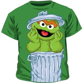 Sesame Street Oscar the Grouch Trash Green T-Shirt Tee (Juvenile)