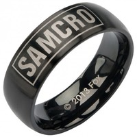 Sons Of Anarchy Black Stainless Steel Samcro Ring (Size 12)