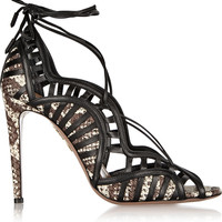 Aquazzura - Lola lace-up elaphe and leather sandals