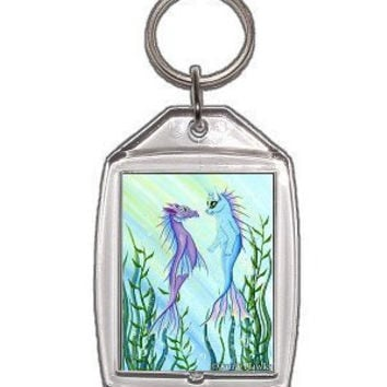 Mermaid Cat Keychain Sea Dragon Mercat Ocean Fantasy Cat Art Keychain Keyring Cat Lovers Gift