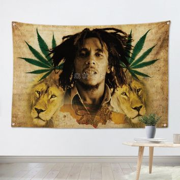 BOB MARLEY Pop Band Poster Cloth Flags Wall Stickers Hanging paintings Billiards Hall Studio Theme Home Decoration