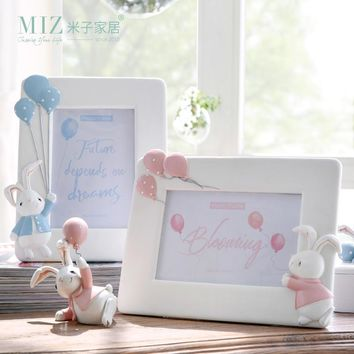Miz 1 Piece Photo Frame for Kids Naughty Rabbit Figure Lovely Bunny Dolls Cute Desk Accessory Room Decor for Children