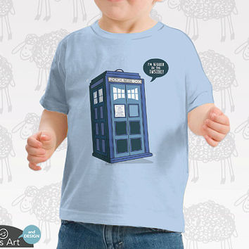 Bigger on the Inside - Doctor Who Baby Onesuit and Toddler Tee. 100% Cotton. Personalized with name upon request.