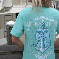 Country Life Outfitters Southern Attitude Anchor Bow Mint Vintage T-Shirt