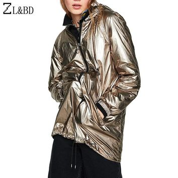 Trendy ZL&BD casaco feminino Plus Size Shiny Metallic Color Women Jackets and Coats Casual Hooded Loose Waterproof Bomber Jacket ZA680 AT_94_13