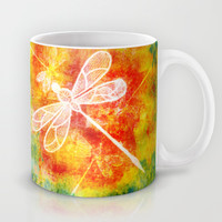 Dragonfly in embroidered beauty Mug by Wendy Townrow