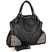 MG Collection Rhinestone Studded Soft Hobo Purse Style Tote Bag, Black, One Size