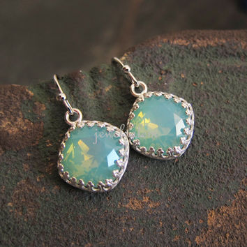 Turquoise Earrings Silver Aqua Teal Pacific Opal Swarovski Crystal Gemstone Elegant Wedding Bridal Jewelry Bridesmaid Gift for Her JW