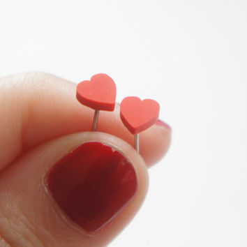Tiny Miniature Red Heart Post Earrings 5mm - Bridal Jewelry Idea - Bridesmaids Gift Idea - Tiny Red Heart Studs