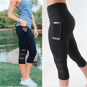 Yoga Legging Pants Black Sexy With Pocket